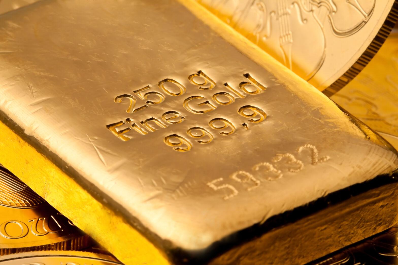 Close up of a gold bar