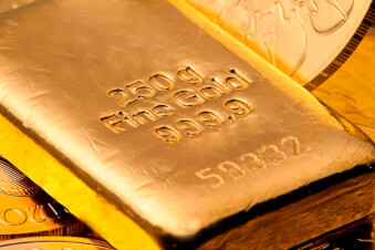 Close up of gold bullion