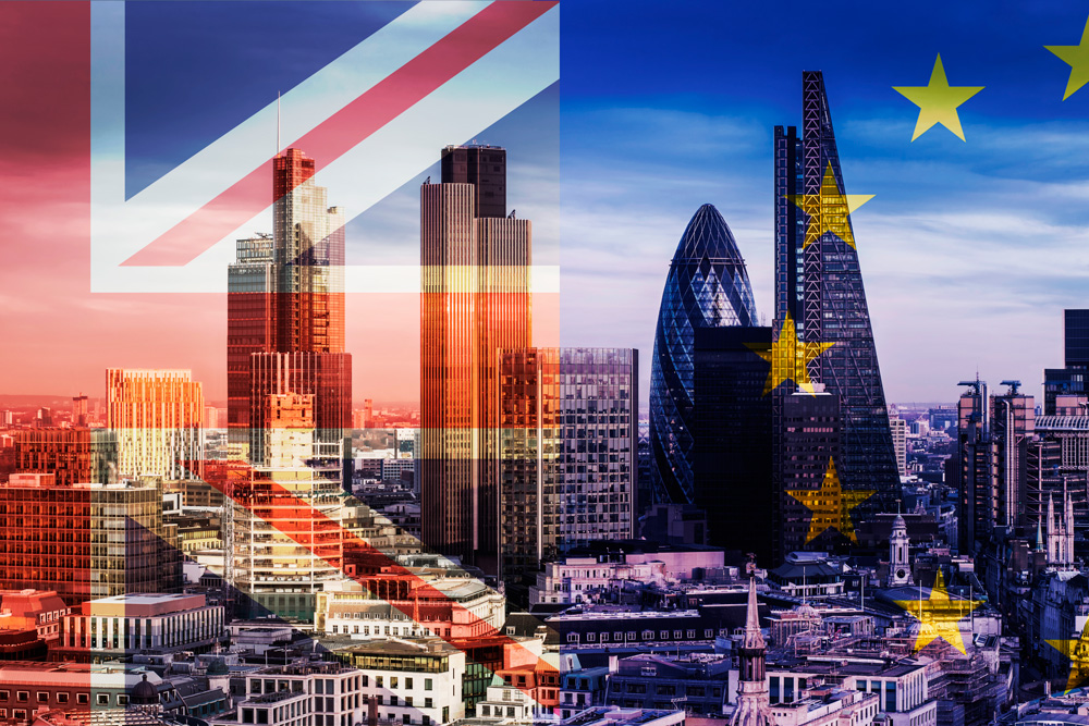 London View with Union Jack and European Flags