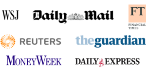 In the Press, collection of newspaper logos