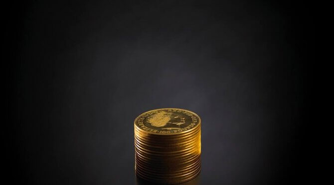 Photo of gold coins stacked up