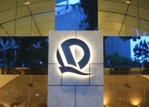 Evergrande Group logo on illuminated sign
